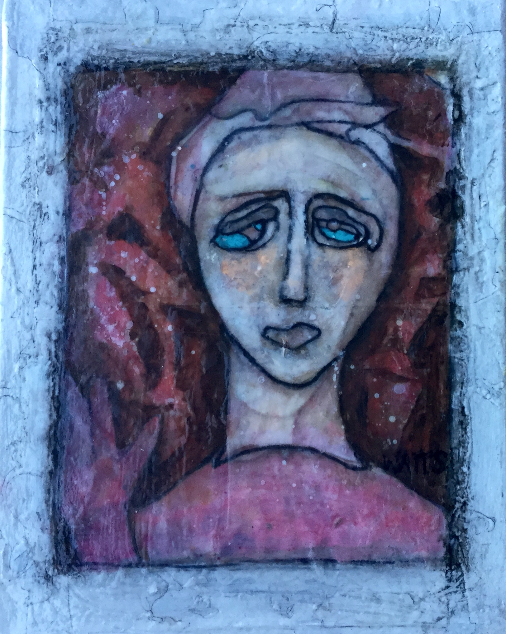 Nuraghe Madonnas, mixed media, faces from the past